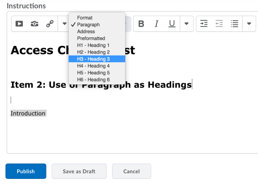 HTML Editor showing format dropdown