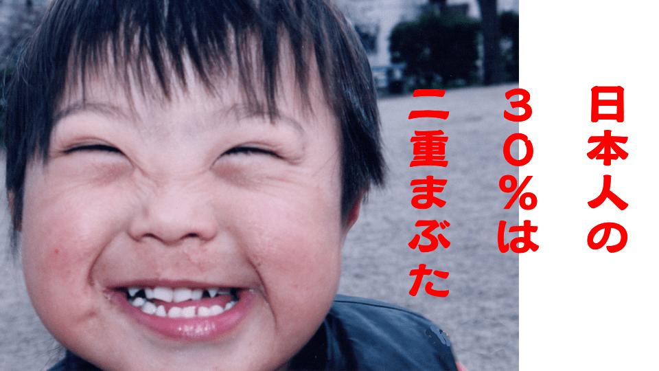 日本人の30%の人は二重まぶた
