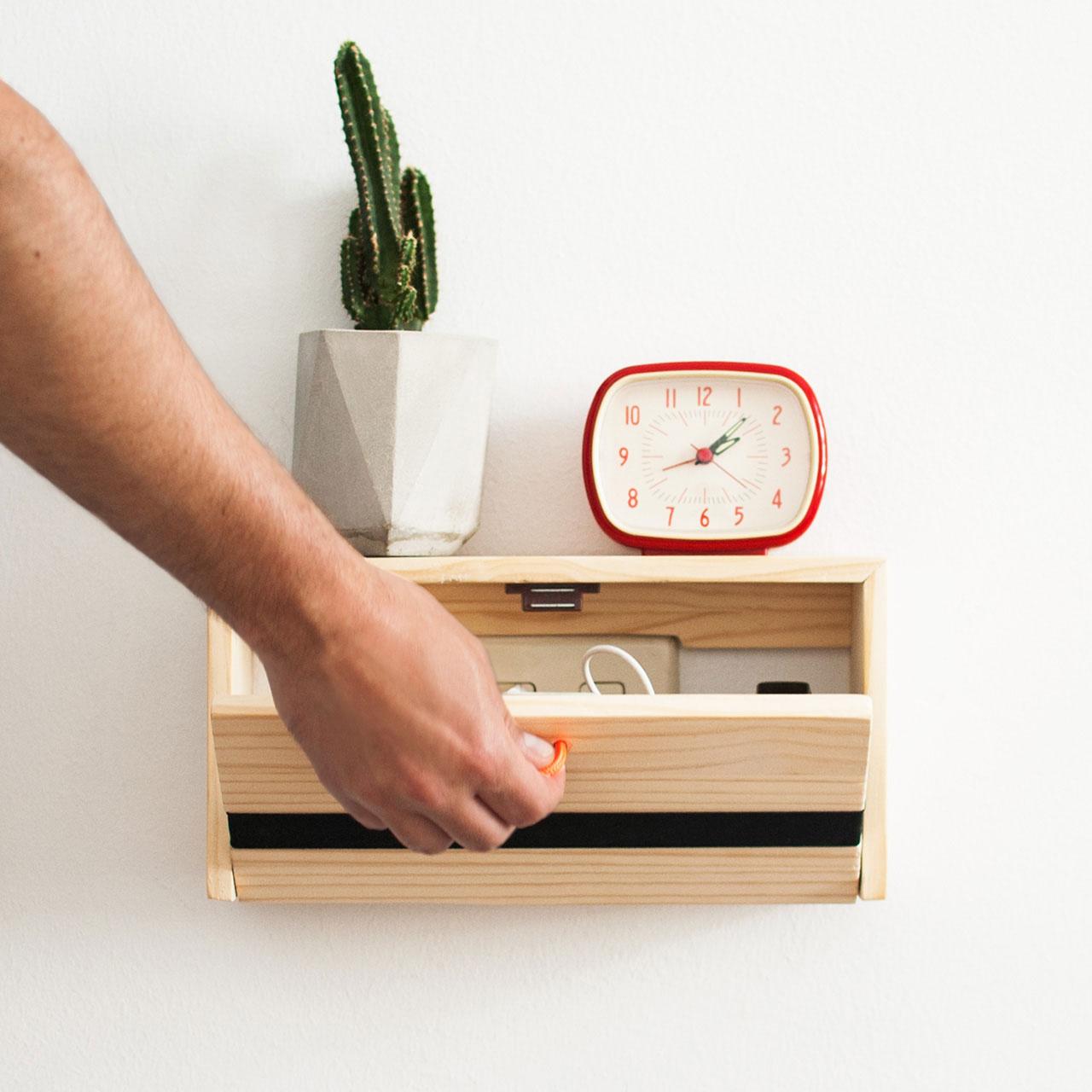 Modern Wood Floating Nightstand Bedroom Furniture Decor