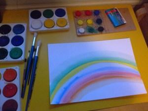kuvaryhmä pariskunnille Helsingissä kuvituskuva missä sateenkaari maalattuna ja maalausvälineitä