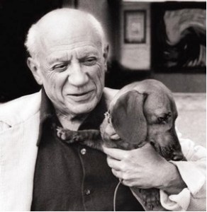 Picasso and his dachshund, Lump: Photo by David Douglas Duncan