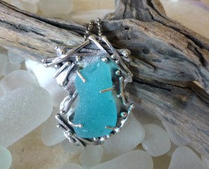 Sharon Curtis, Sea Glass and Fused Sterling Pendant