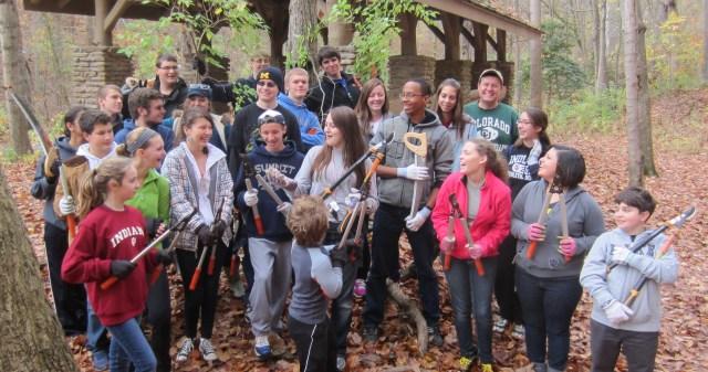Cincinnati Latin students prepared to kill some honeysuckle at California Nature Preserve.