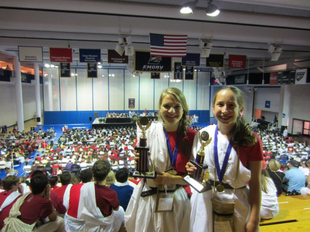 Lindsey and Julia with their awards.