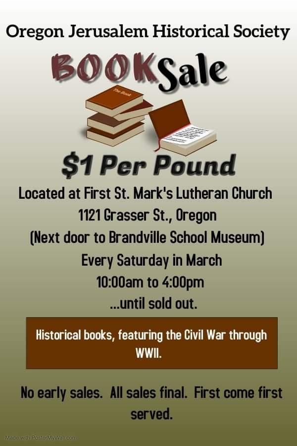 Oregon Jerusalem Historical Society Book Sale