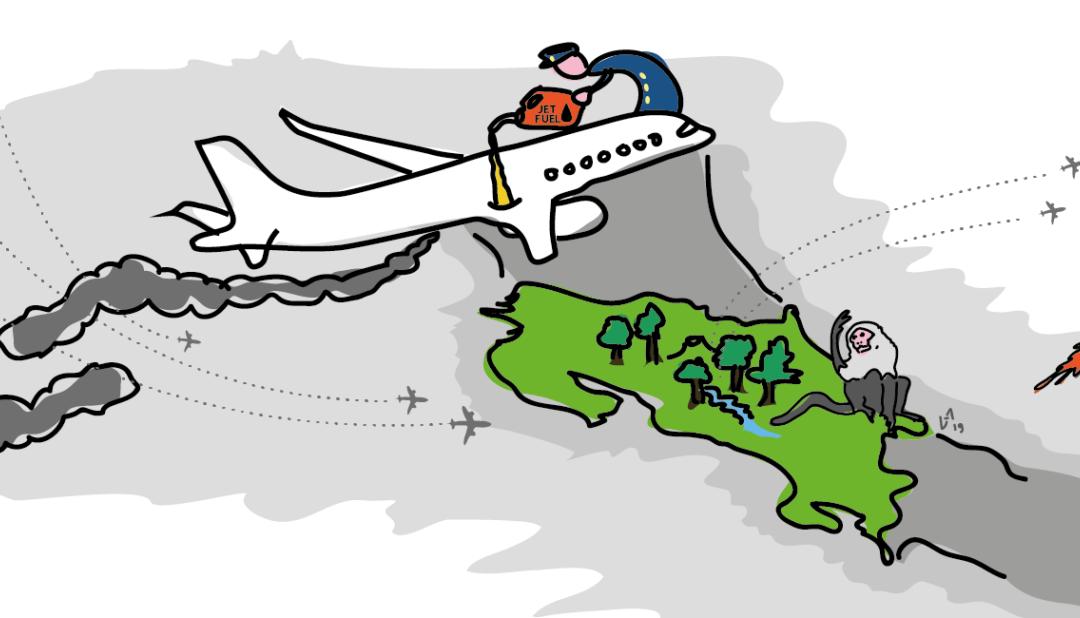 La aviación internacional de Costa Rica equivale a cerca del 10% de las emisiones de país