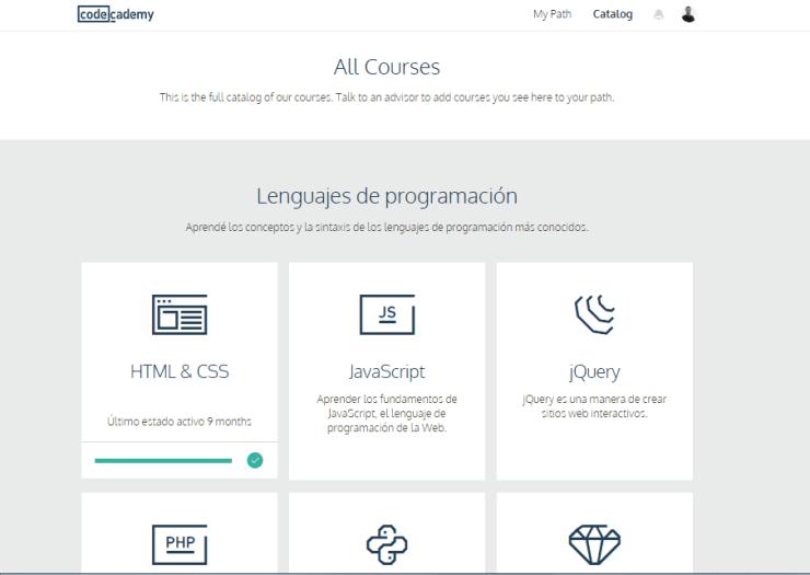 Portal CodeAcademy Programar lenguajes