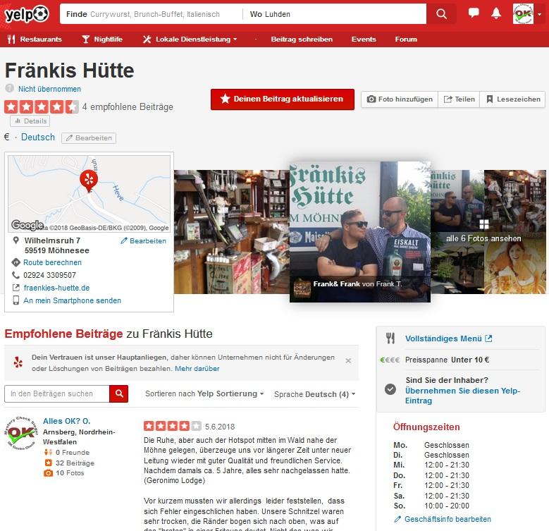Mystery Check Yelp Främkis Hütte