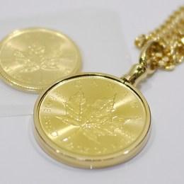 K24メイプルリーフ金貨1/2ozネックレス 1/4ozコイン