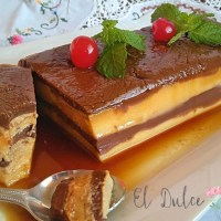 Tarta flan de chocolate y galletas