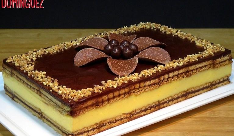 Tarta de flan con galletas y chocolate