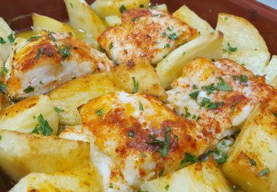 Bacalao marinado al horno con patatas