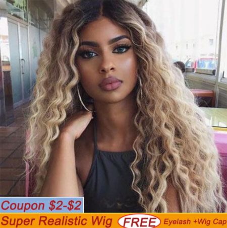 Lace Front Wigs Deep Wave Long Hair Synthetic Lace Front Wig Blonde Brown 9 Colors Available 30Inch Wigs For Women Cosplay