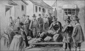 ■ジャイルズ・コーリーの拷問。 セイラムで行われた唯一の拷問。ティテュバも口を割る前に鞭で叩かれたが、拷問というほどではなかった。 ジャイルズは結局口を割らず、「more weight!」と叫んで絶命し、アメリカ史上唯一の圧殺拷問死者となった。画像出典:Cyclopedia of Universal History, 1923
