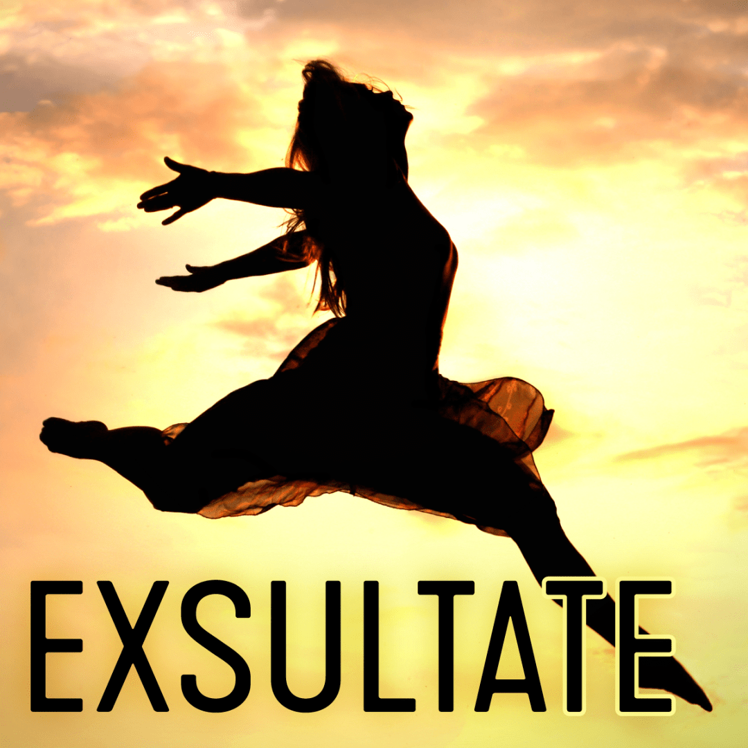 Exsultate concert graphic of a woman leaping through the air in a sunset sky
