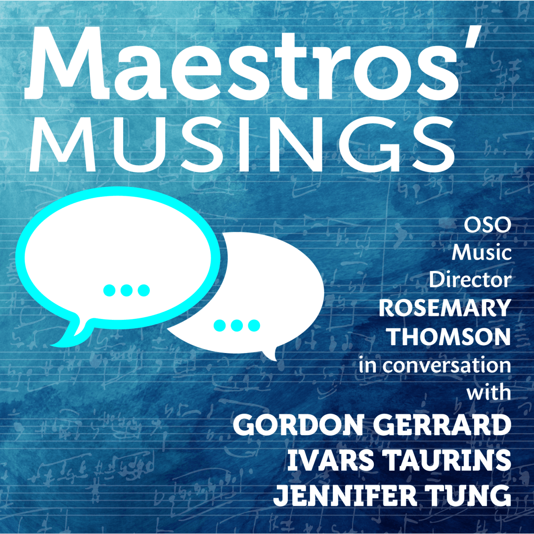 Maestros Musings event graphic with blue background and white text