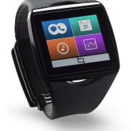 Black smartwatch with stripe theme applets