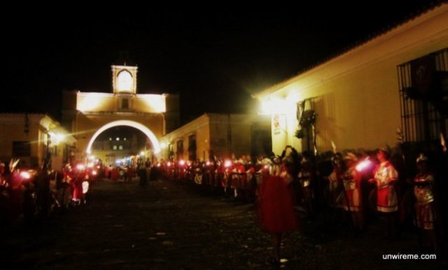 Marching towards La Merced Church