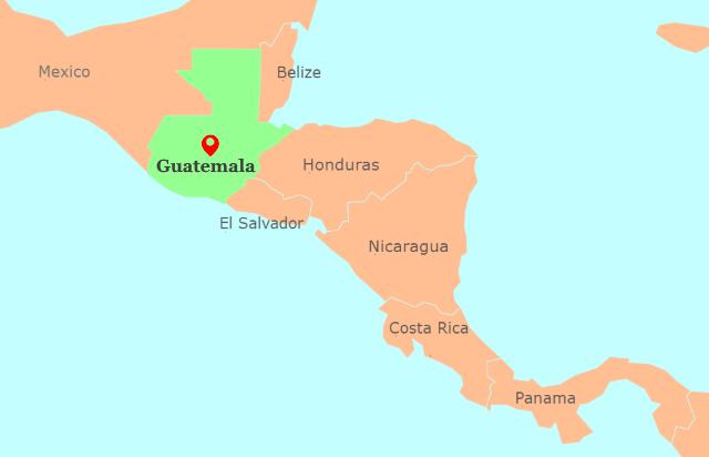 Guatemala, Central America Map