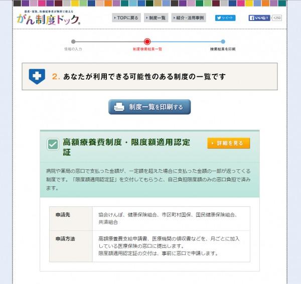 「がん制度ドック」の検索結果ページ