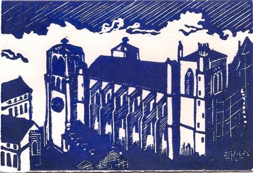 """Cathédrale Saint-Jean"" linocut 2012"
