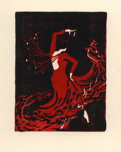 """La Bailaora."" Linoleum Block Print. 2013."
