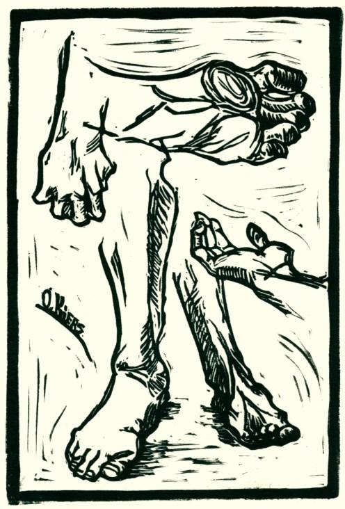 """Study of Hands and Feet."" Linoleum block print, 4"" x 6"", 2014"
