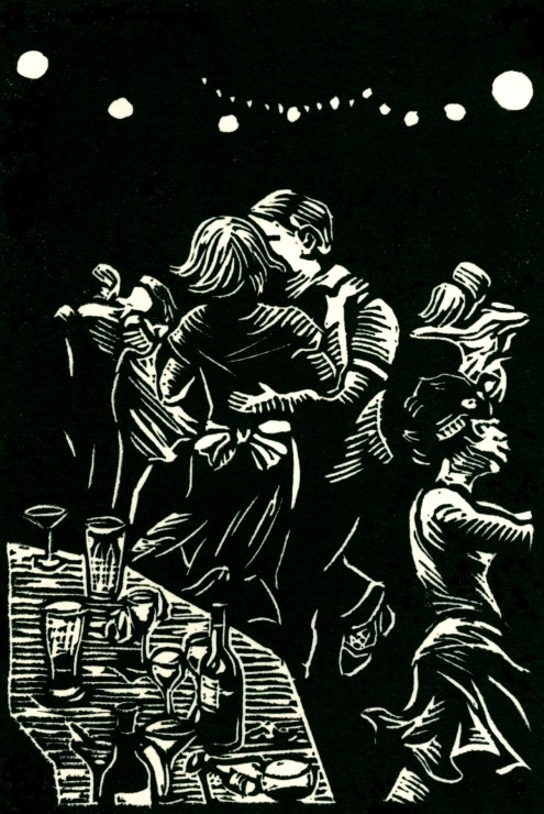 """A Night Out."" Linoleum block print. 6"" x 4"", 2015."