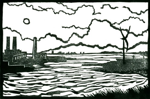 """Between Chelsea and Revere."" Linocut and gouache, 4"" x 6"". 2015."