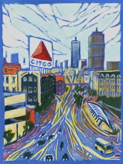 """Kenmore Square: Day."" Linoleum block print with gouache. 4"" x 3"". 2015"