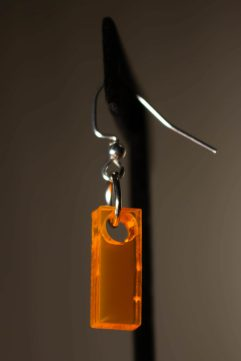 Neon Orange Dangle Earring
