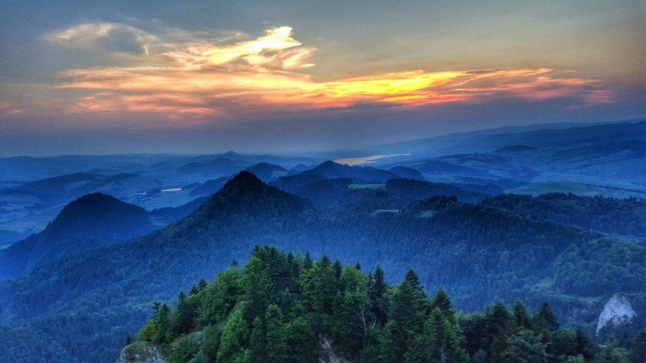 zachód słońca widok z Trzech Koron