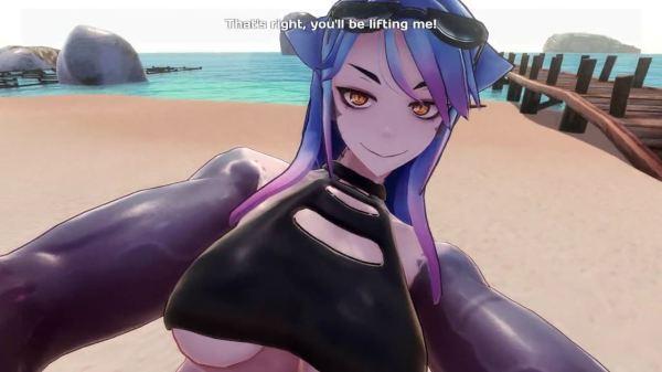 [Monster Girl Island] 筋肉がどエロいサメ娘とビーチでラブラブSEX! [3Dアニメ,エロゲ]