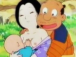 日本昔話風のエロアニメ!?子供の前で青姦セックスする夫婦www
