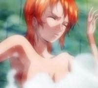 [ワンピース] ナミさんが逃げ場のない風呂場で透明人間に好き放題されちゃうエロアニメ!