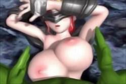 巨乳女騎士がモンスターに押し倒されてプルプルおっぱいでパイズリぶっかけ!