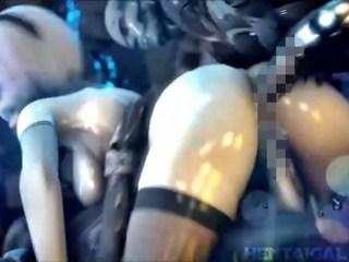 【ニーア オートマタ】戦いに敗北した2Bが拘束され輪姦中出しレイプ! (SFM)