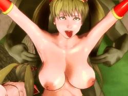 【3Dアニメ】ビキニアーマーのクソ雑魚巨乳女戦士がオークのくすぐり拷問・手マンであっさり放尿アクメ!!