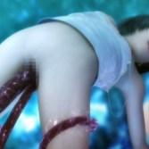 【FF7】触手に襲われたユフィちゃんが貧乳おっぱい弄られて感じちゃう3DCGアニメ