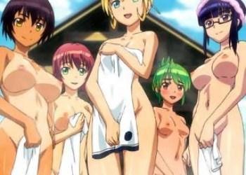 【ふたなり・レズ】子宝祈願の秘祭「まんまら祭り」に来たふたなり娘たち!旅館の若女将も交えて温泉でおっぱじめる!
