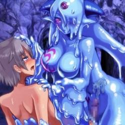【モン娘・逆レイプ】スライム女王に搾精逆レイプされる勇者!半透明の体内に出された精液がエロい!