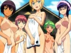 【ふたなり・レズ】この娘たち全員フタナリですwww女の子同士なのに露天風呂で発情してしまい乱交へ.....!?