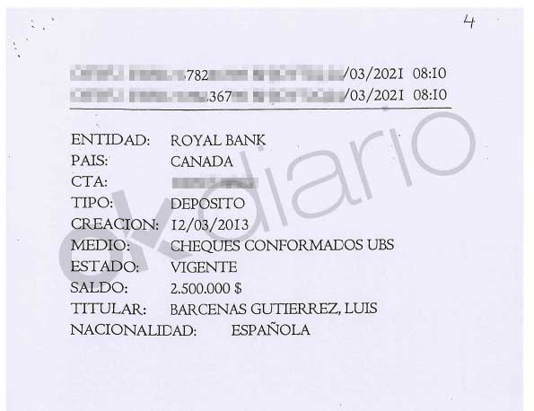 Deposit paid to an account in the name of Luis Bárcenas at the Royal Bank investigated by the National Court