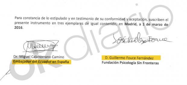 Firma del embajador ecuatoriano Miguel Calahorrano en el primer contrato con el socialista Guillermo Fouce.