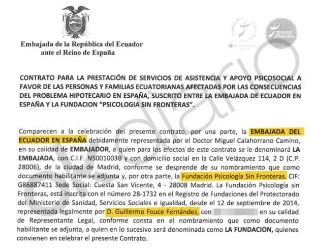 Contrato suscrito entre la Embajada de Ecuador en España y la consultora psicológica de Guillermo Fouce en 2016.