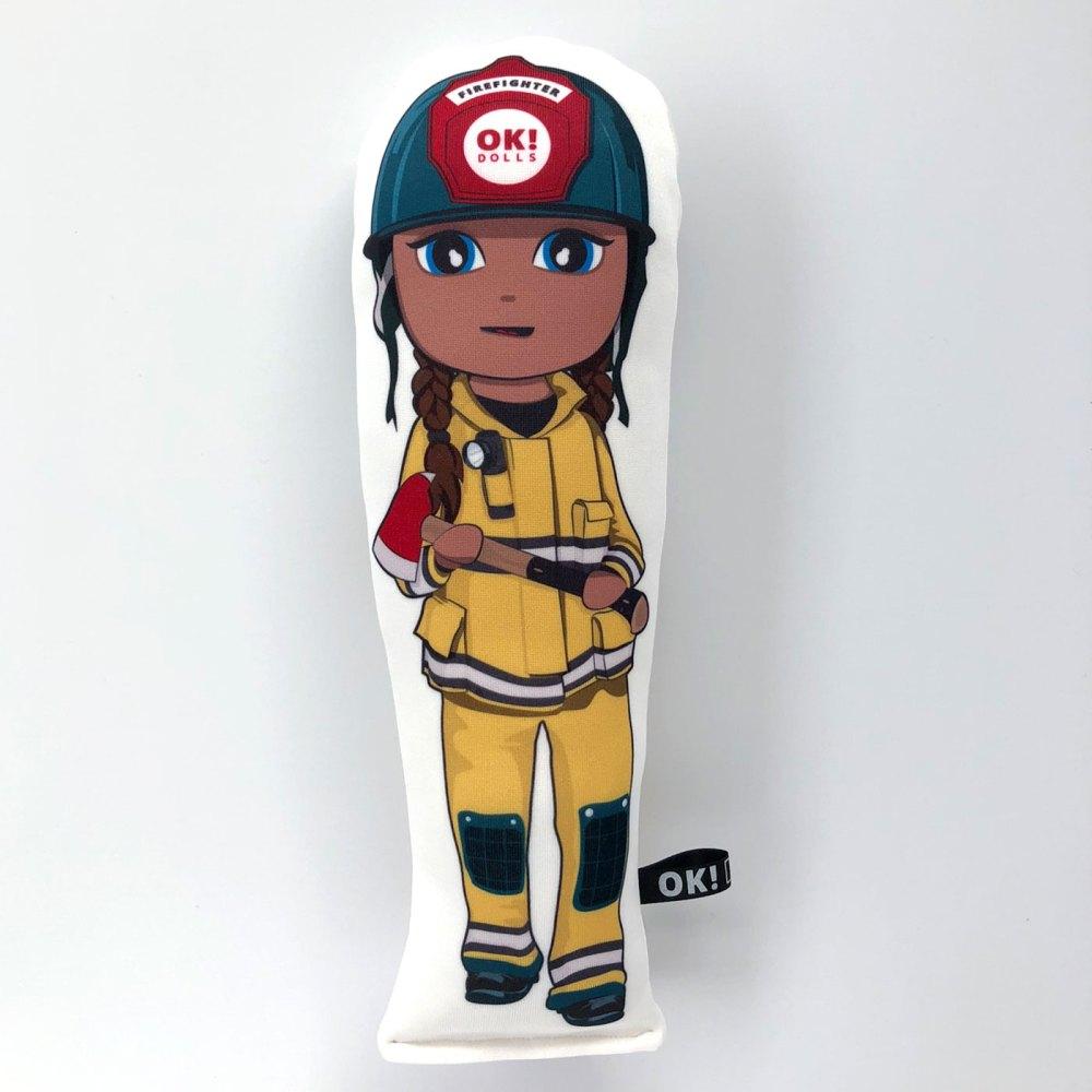 Frankie Firefighter doll chocolate skin tone