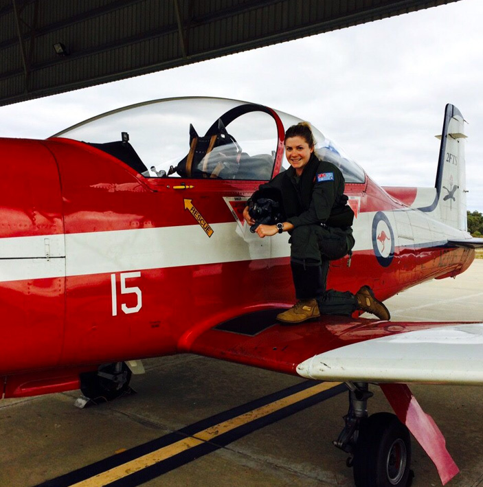 Hayley by her training plane