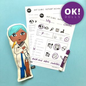 Kids Vet Clinic Pretend Play activity and example of filled out printable