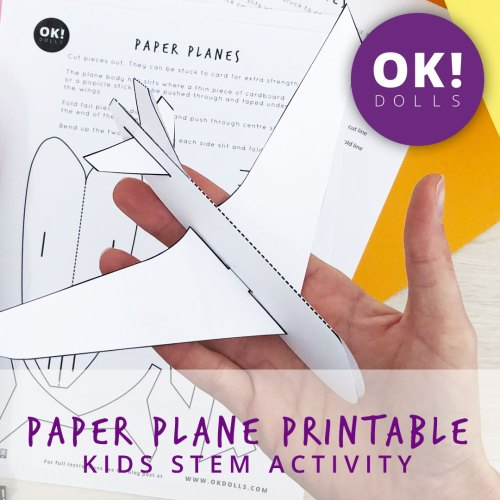 paper plane printable and kids STEM activity