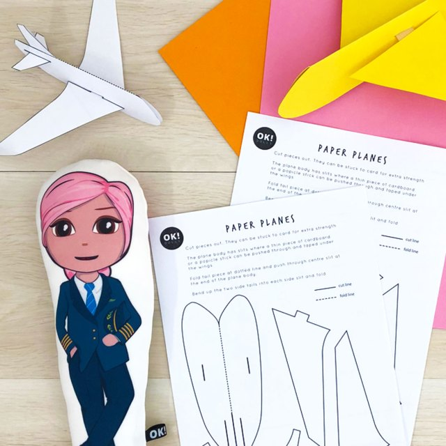 pilot doll with paper plane printables and cardboard